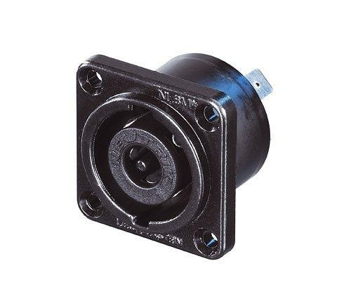 NLT8MP-BAG - 8-pole male chassis connector, black-chrome metal housing, solder or 1/4 inch flat tabs