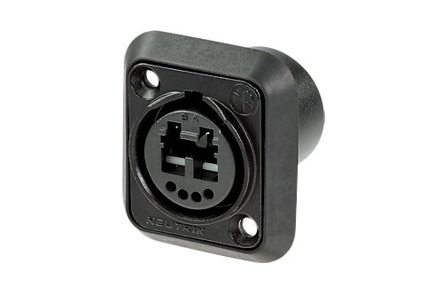 NO2-4FDW-A - Chassis connector, black chromium plating, 4 solder contacts and 1 LC-Duplex feedthrough socket