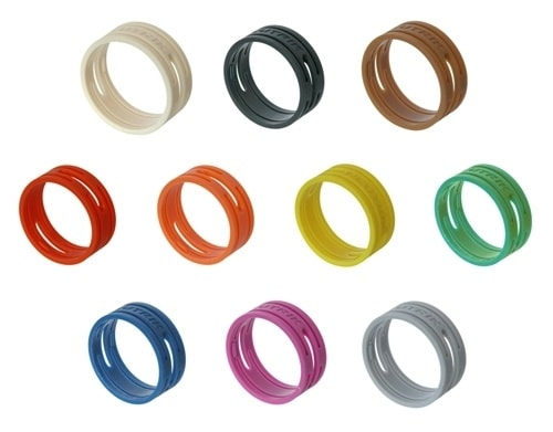 XXR-* - Colored coding rings. Color ring can be changed without unsoldering insert