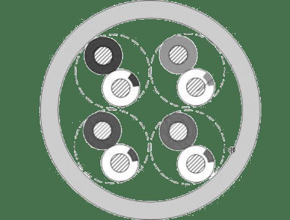 Cross section CCT50U - Networking cable - CAT5E - U/UTP - solid 0.20 mm² - 24 AWG - FlamoFlex™