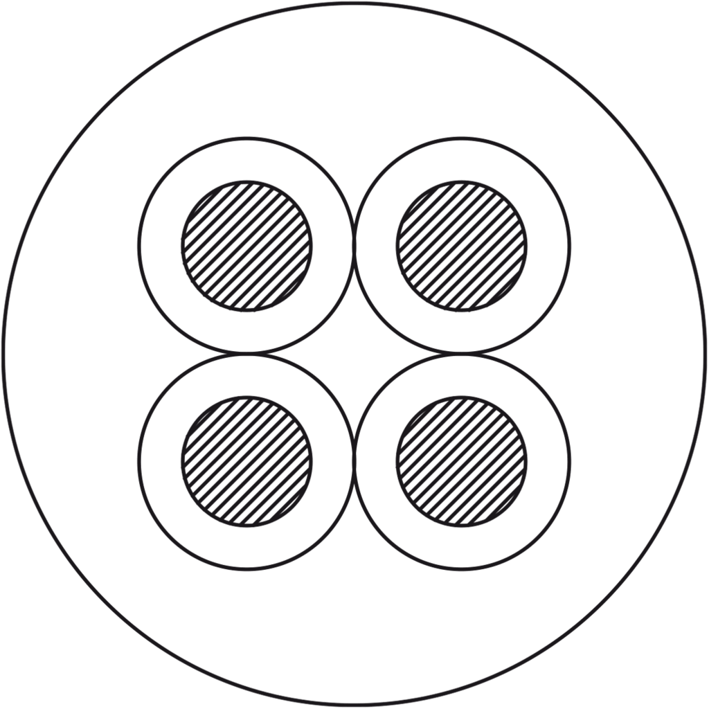 Cross section PLS425 - Loudspeaker cable - 4 x 2.5 mm² - 13 AWG - HighFlex™
