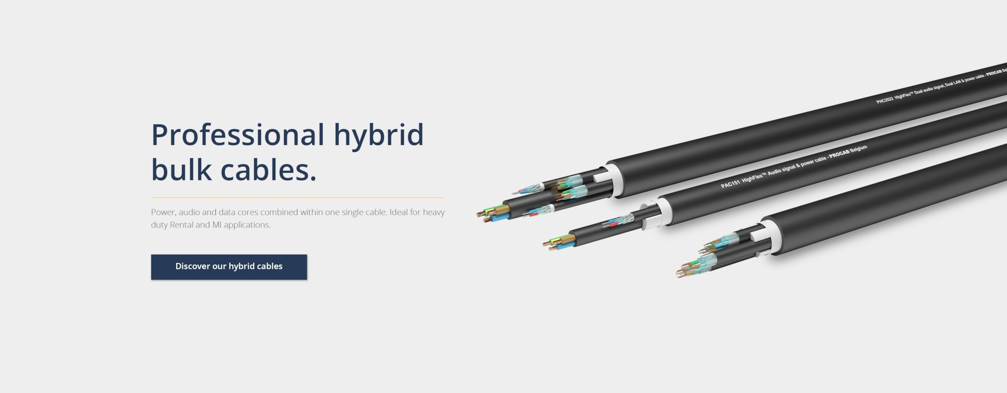Power, audio and data cores within one cable.
