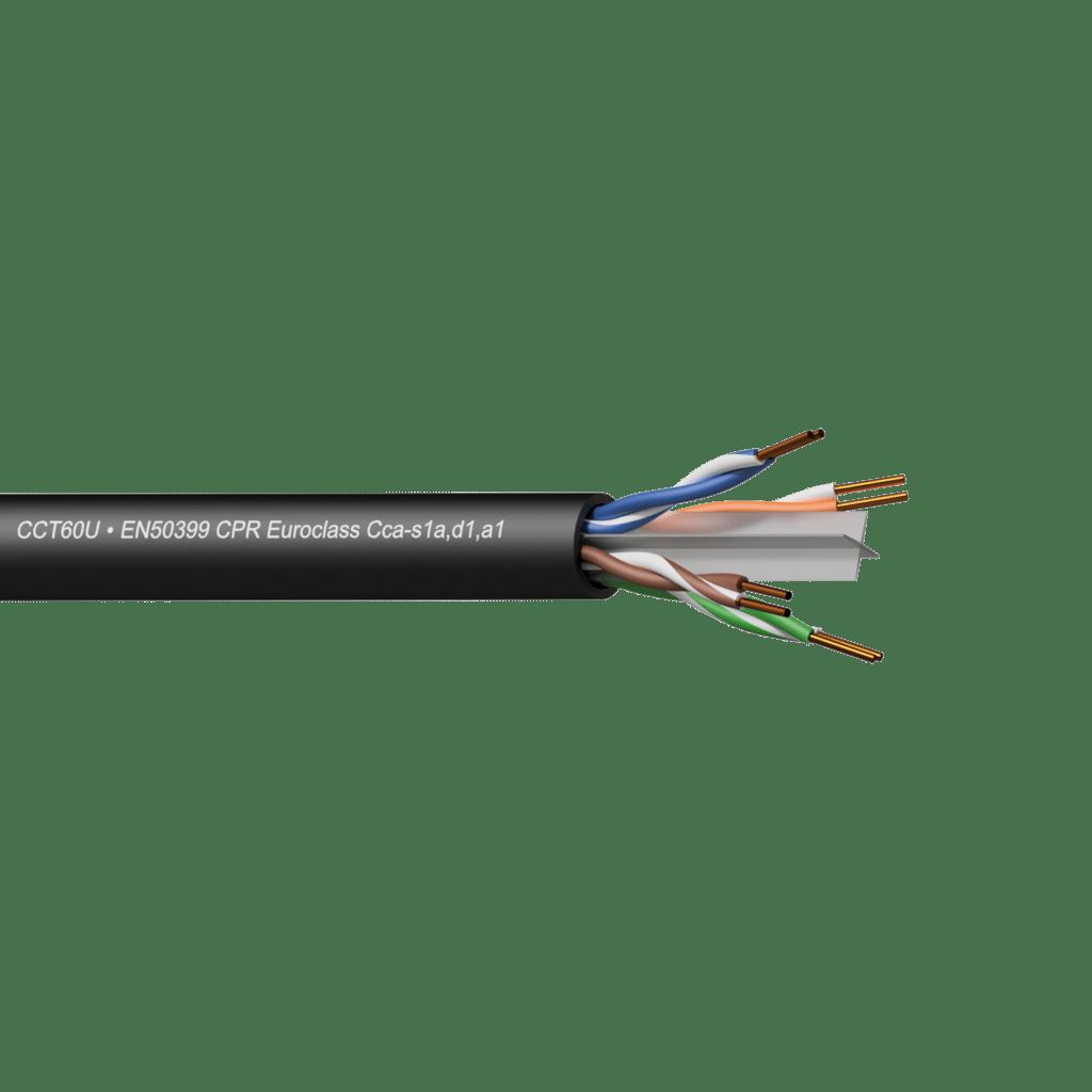 CCT60U-CCA - Networking cable - CAT6 - U/UTP - solid 0.25 mm² - 23 AWG - EN50399 CPR Euroclass Cca-s1a,d1,a1