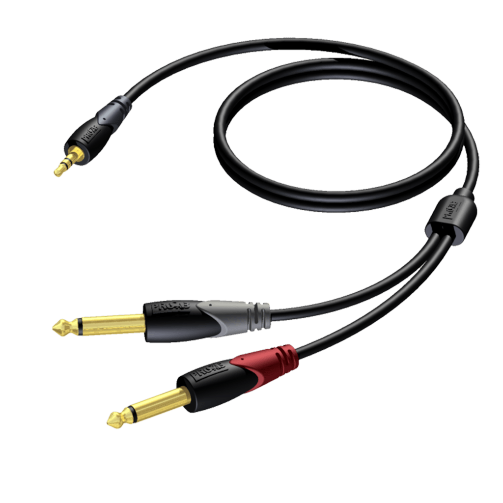 CLA713 - 3.5 mm Jack male stereo - 2 x 6.3 mm Jack male mono