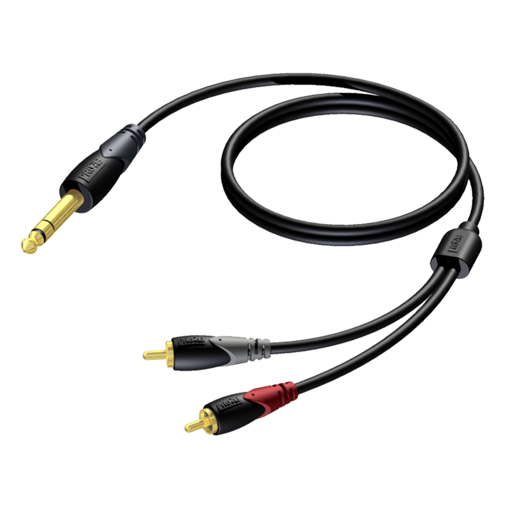 CLA719 - 6.3 mm Jack male stereo - 2 x RCA/Cinch male