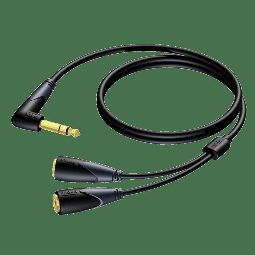 CLA720 - 6.3 mm Jack angled male stereo - 2 x 6.3 mm Jack female stereo