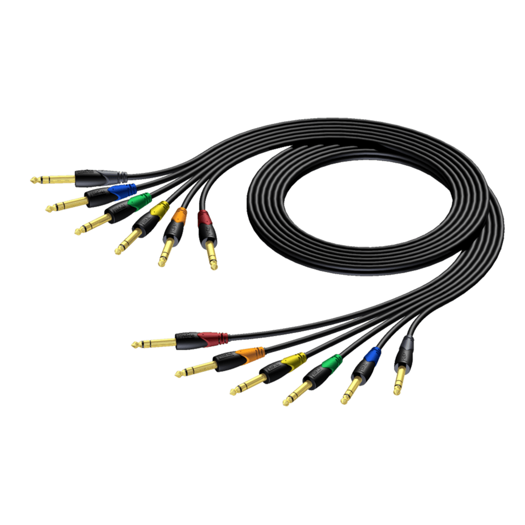 CLA792 - 6.3 mm Jack male stereo - 6.3 mm Jack male stereo - cable set in 6 colours