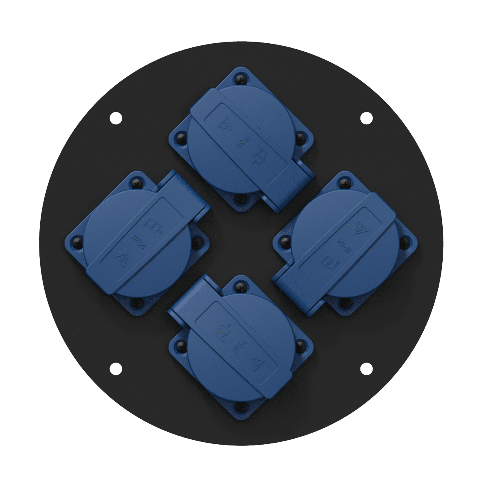 CRP244 - Center connection plate 185 mm  4 x schuko - IP44