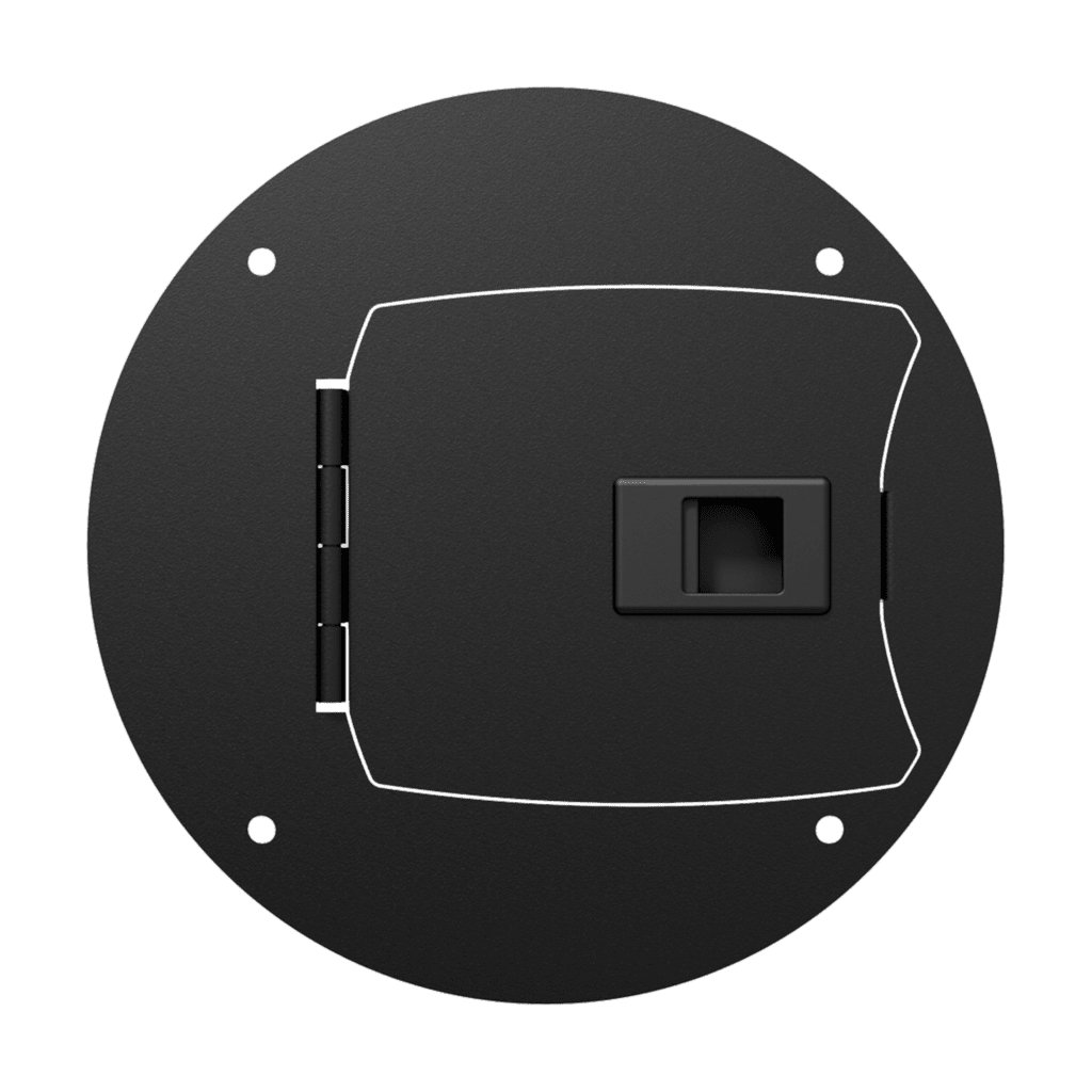 Center connection plate with latchable door
