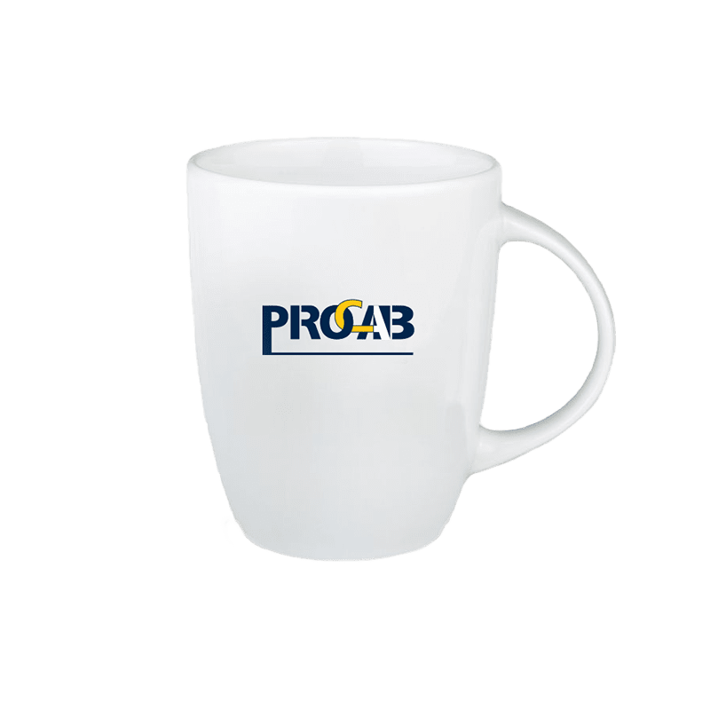 PROMO6502 - White-colored mug with 1-tone PROCAB logo