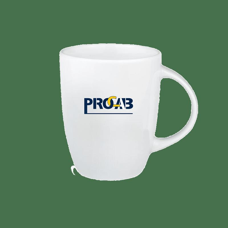 PROMO6502 - White-colored mug with 1-tone PROCAB logo