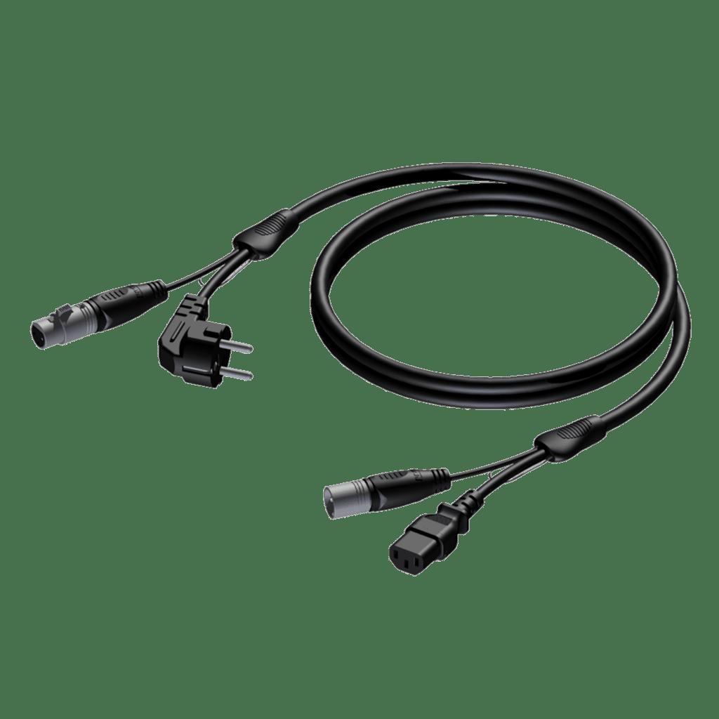 REF400 - Schuko power male & XLR female - euro power female & XLR male - 3 x 1.0 mm²