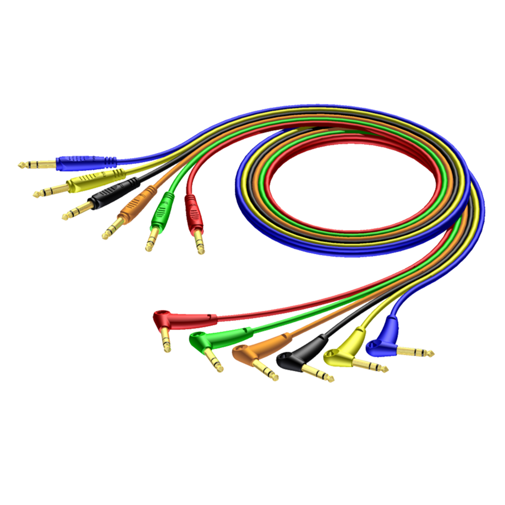 REF790 - 6.3 mm Jack male stereo - 6.3 mm Jack angled male stereo - cable set of 6 colours