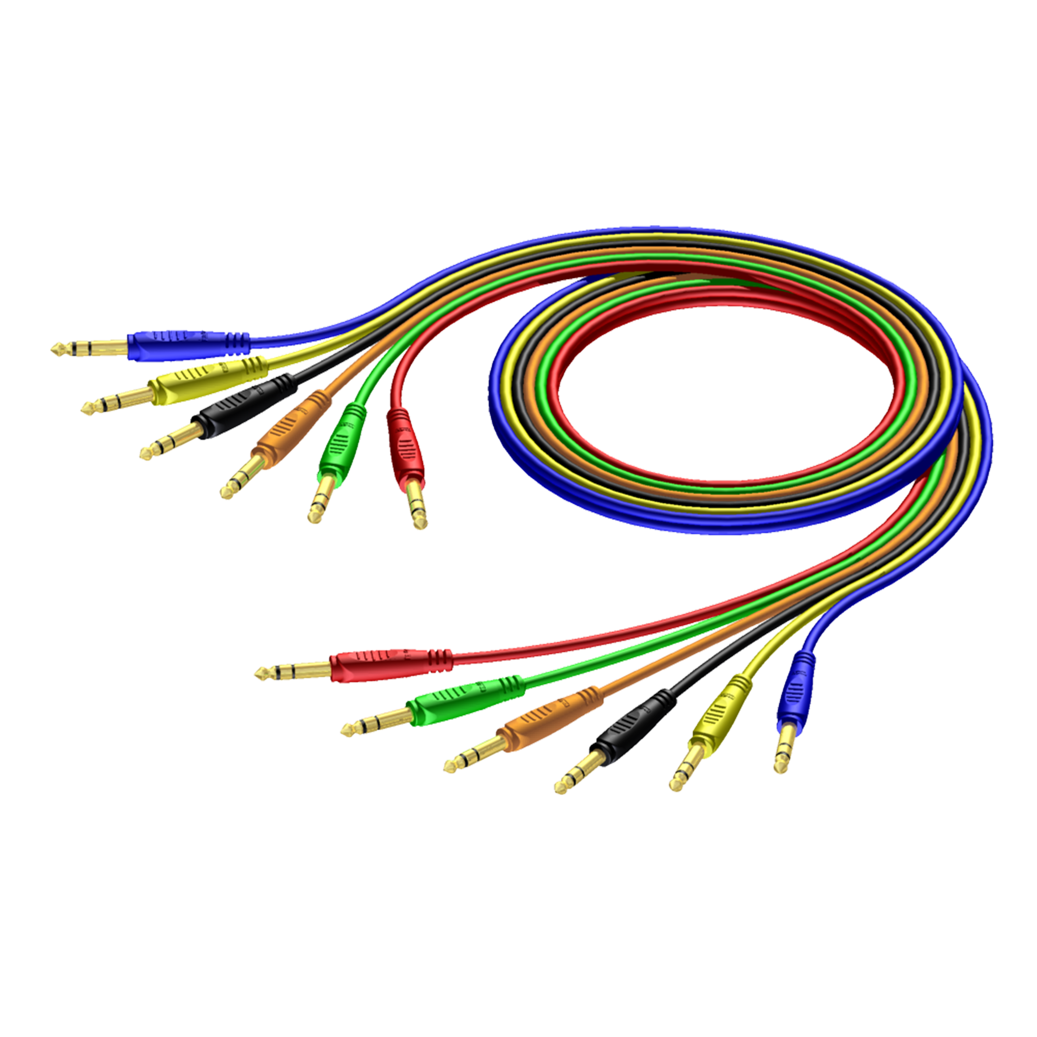 REF792 - 6.3 mm Jack male stereo to 6.3 mm Jack male stereo - cable set in 6 colours