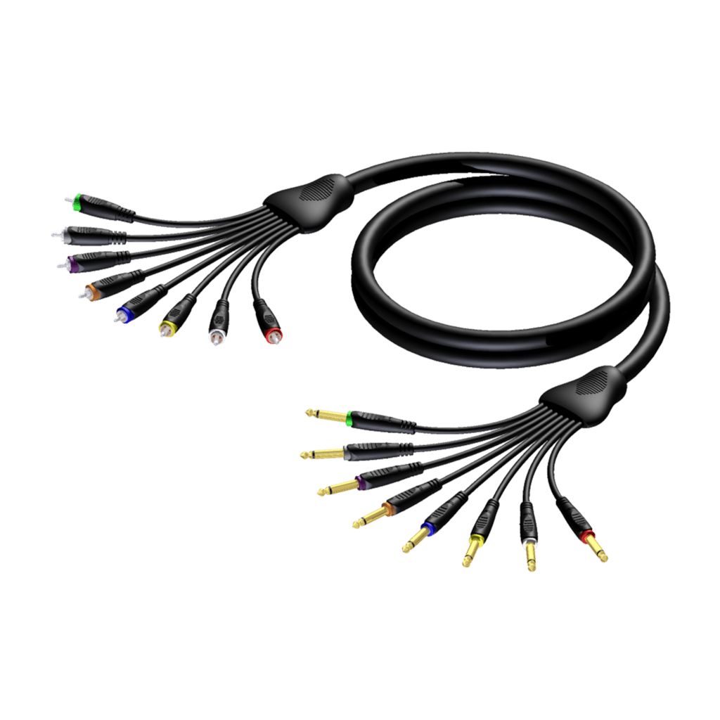 REF8010 - Multi core cable - 8 x 6.3 mm Jack male mono - 8 x RCA/Cinch male