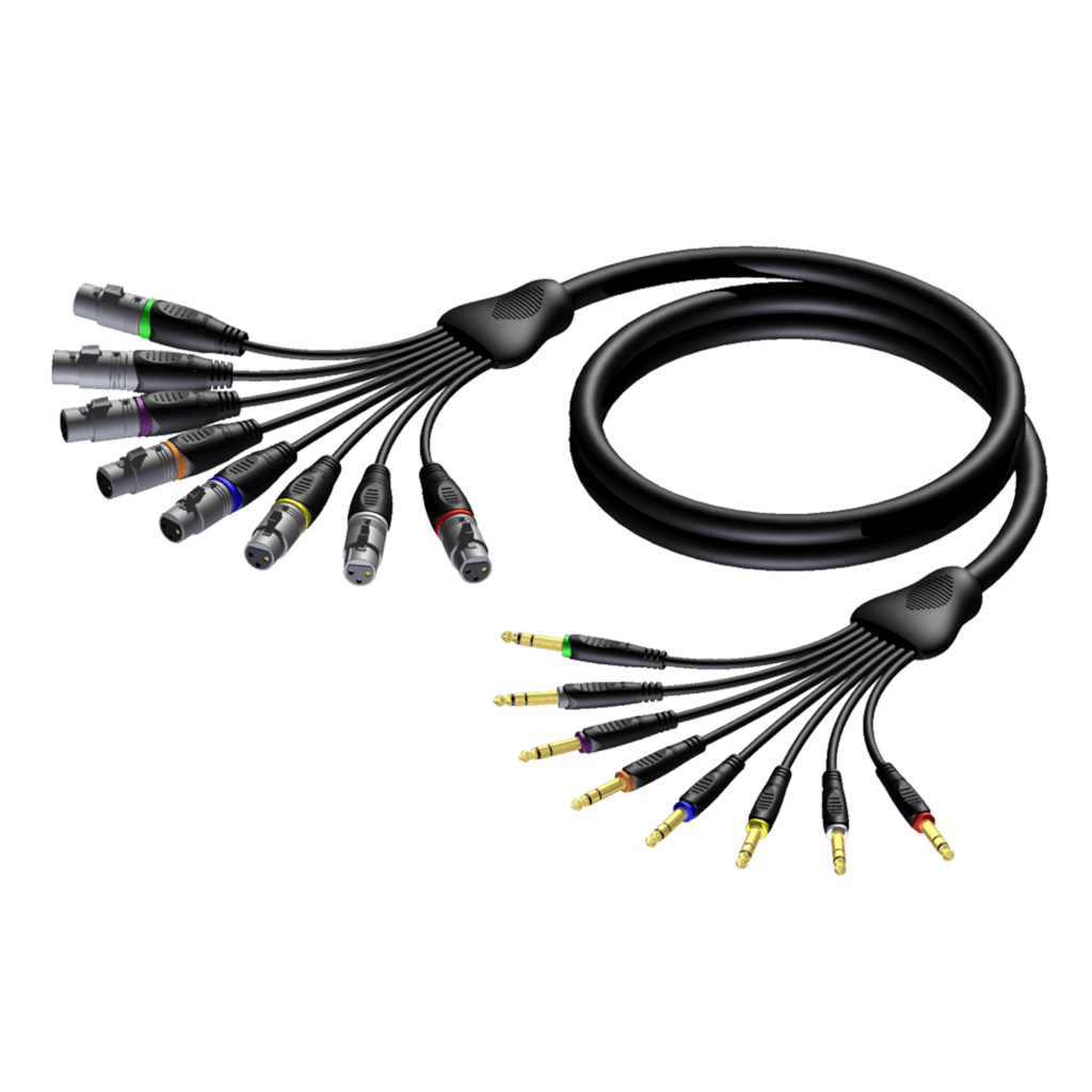 REF8019 - Multi core cable - 8 x XLR female - 8 x 6.3 mm Jack male stereo