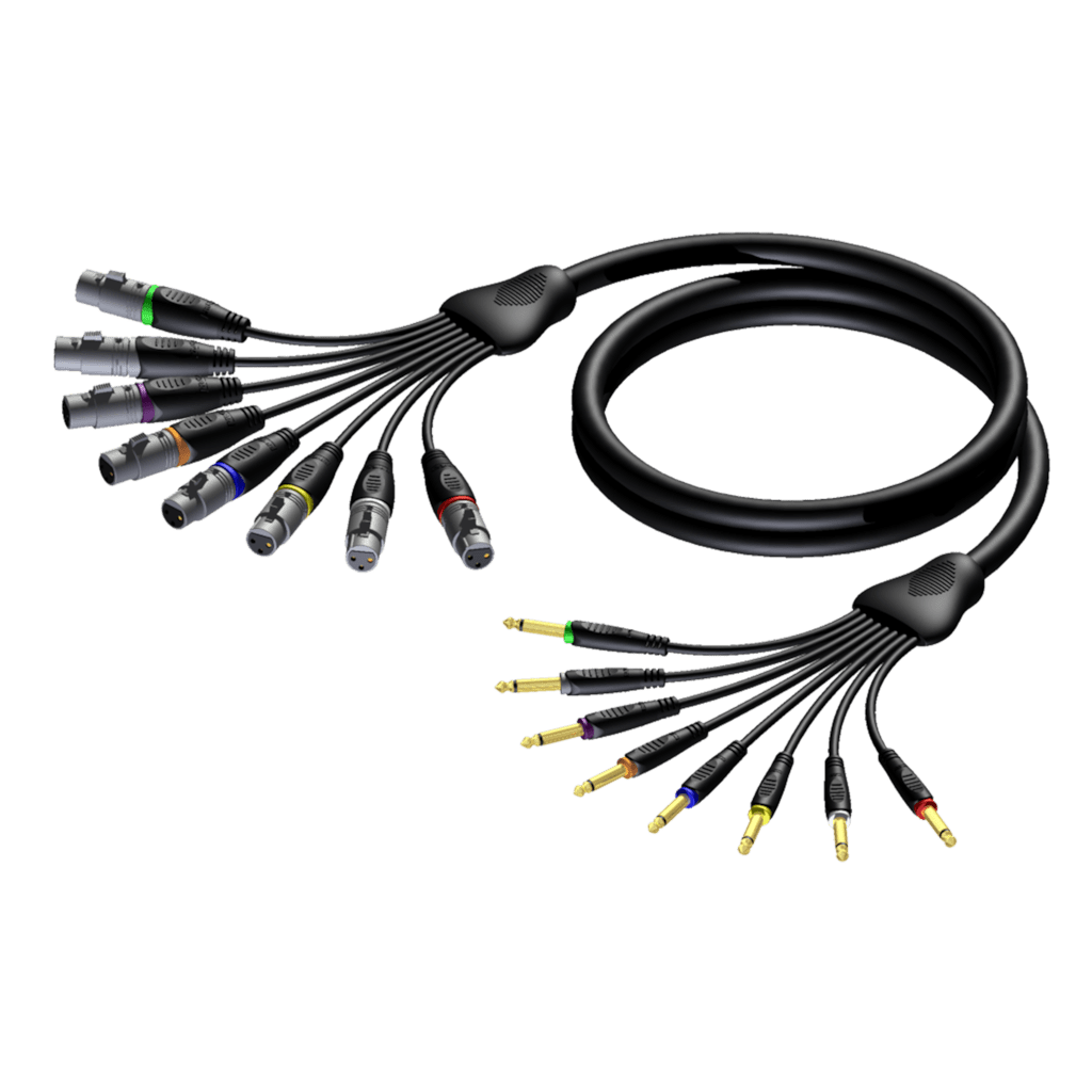 REF8024 - Multi core cable - 8 x XLR female - 6.3 mm Jack male mono