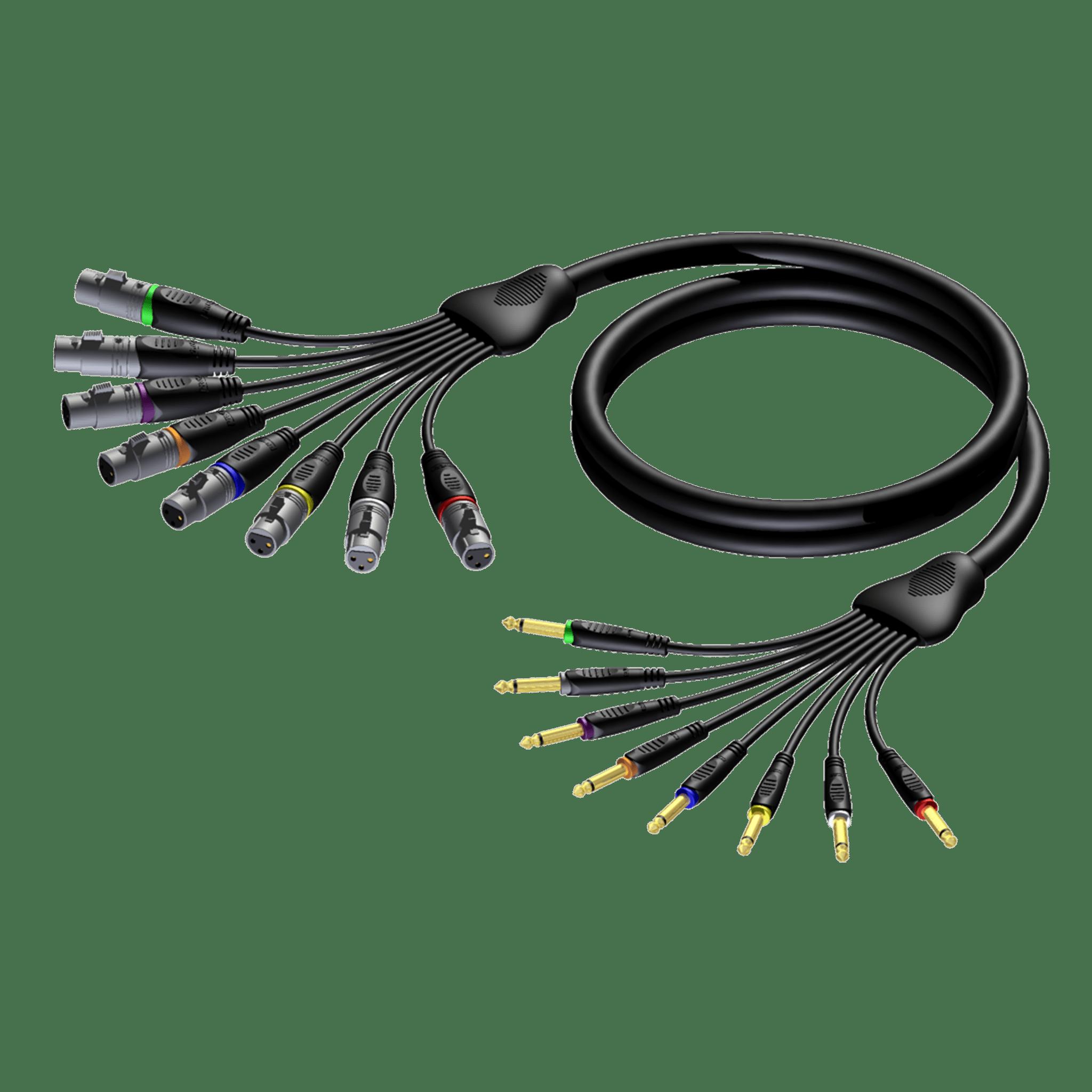 REF8024 - Multi core cable - 8 x XLR female - 6.3 mm Jack male mono