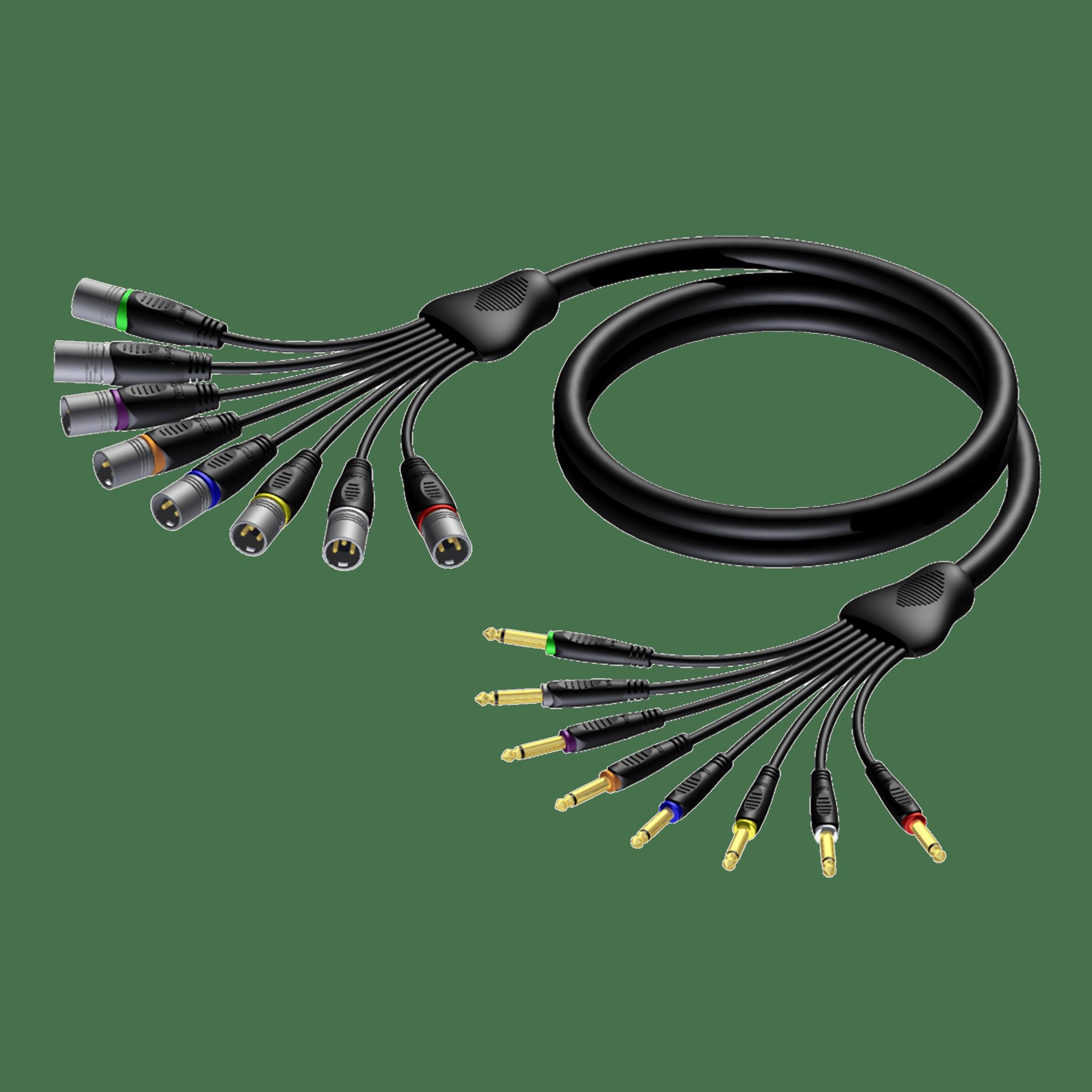 REF8027 - Multi core cable - 8 x XLR male - 6.3 mm Jack male mono