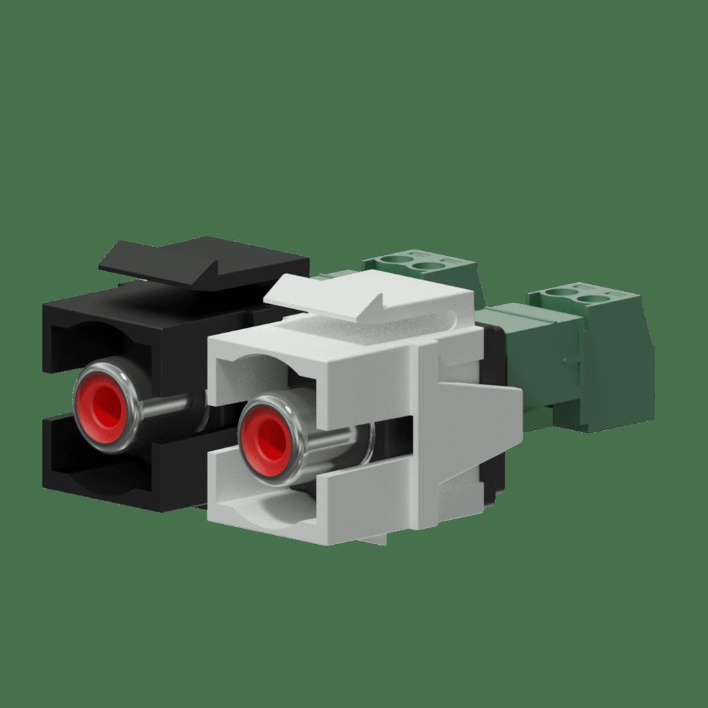 Keystone adapter - RCA female - 2-pin terminal block - pair