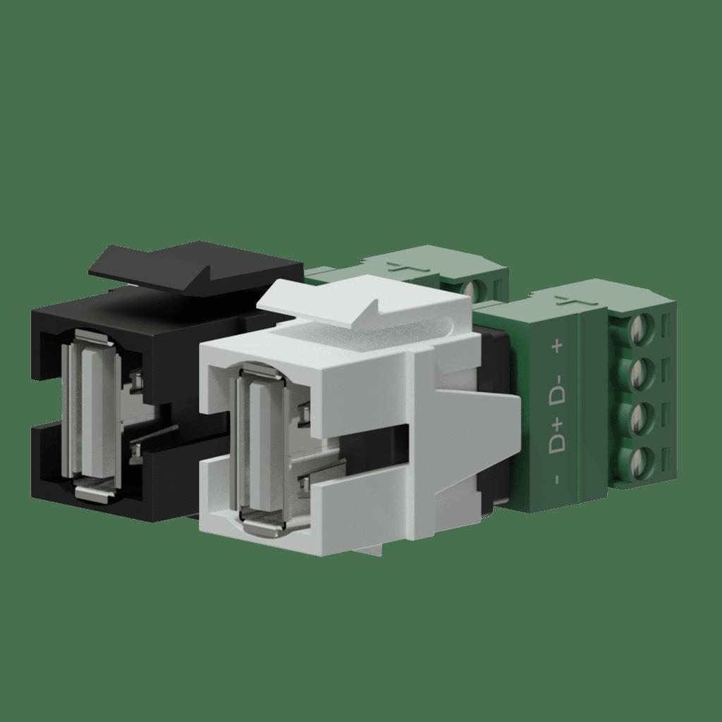 Keystone adapter - USB 2.0 A - 4-pin terminal block