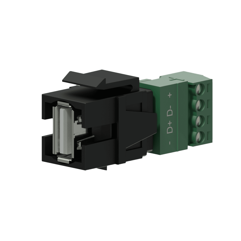 VCK625 - Keystone adapter - USB 2.0 A - 4-pin terminal block