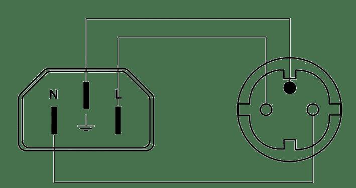 cab446 f euro power male to schuko power female french rh procab be schuko socket wiring diagram