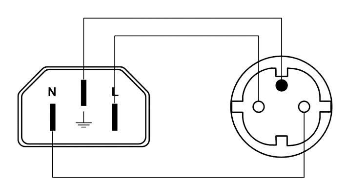 Wiring diagram CAB446-F - Euro power male to schuko power female - French type connector