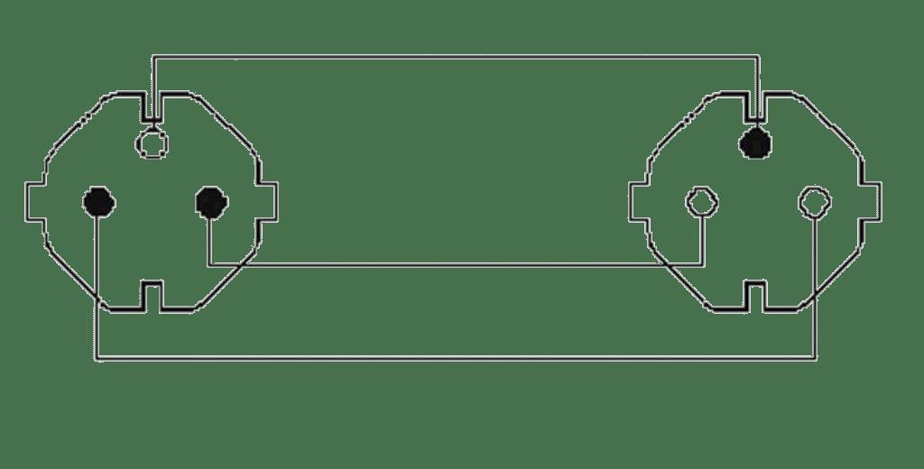 Wiring diagram CAB465-F - Power cable - schuko male - schuko female - France - 3 x 2.5 mm²