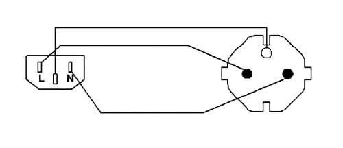 Wiring diagram CAB490 - Power cable - schuko male - euro power female - PVC lead - 3 x 1.5 mm²