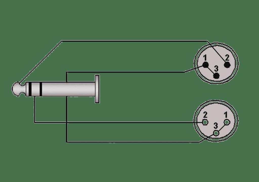 Wiring diagram REF709 - 6.3 mm Jack male stereo - XLR male & XLR female