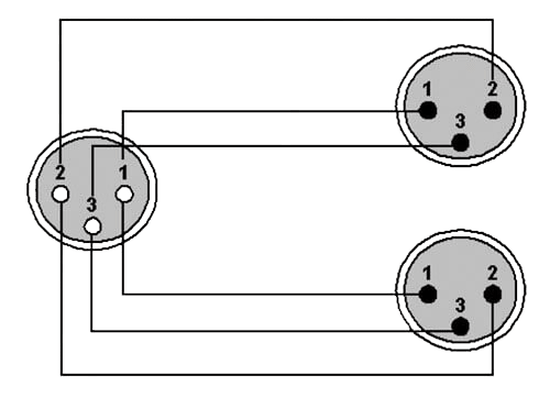 Wiring diagram REF735 - XLR female - 2 x XLR male