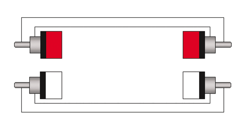 Wiring diagram CAB820 - 2 x RCA/Cinch male to 2 x RCA/Cinch male - heavy duty
