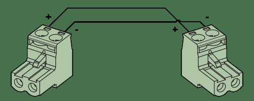Wiring diagram CLA530 - Loudspeaker cable - terminal block - terminal block (2p - 5.08mm)