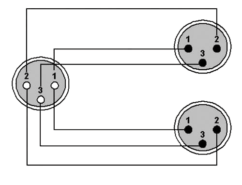 Wiring diagram CLA735 - XLR female - 2 x XLR male