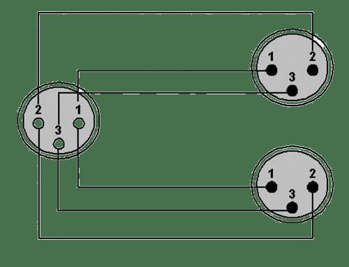 Wiring diagram CLA735 - XLR female - 2 x XLR male