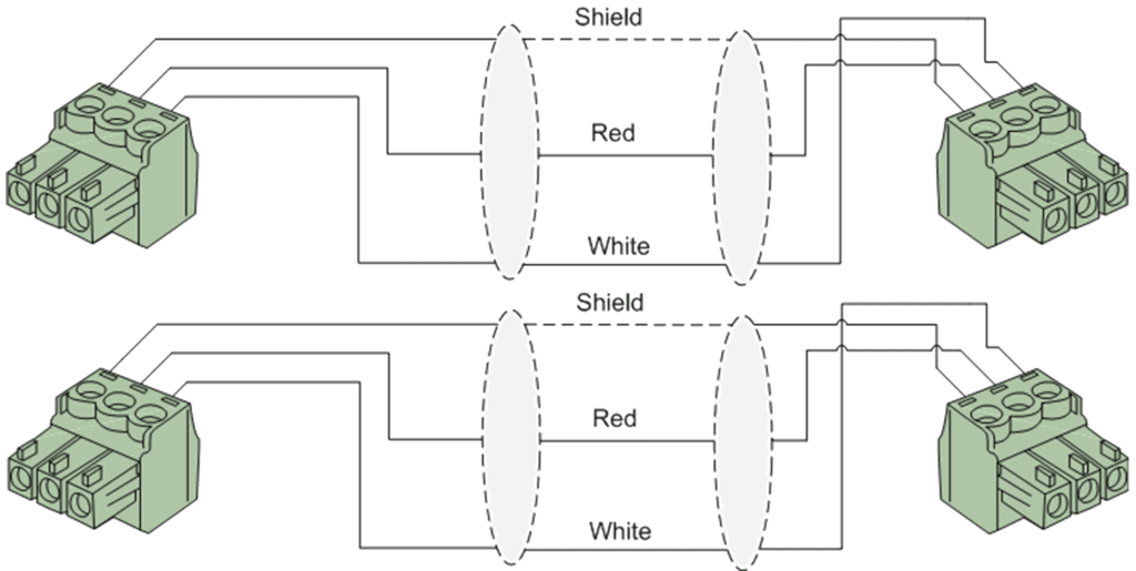 Wiring diagram CLA830 - 2 x terminal block - 2 x terminal block (3p - 3.81mm)
