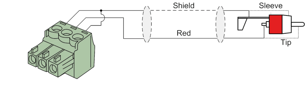Wiring diagram CLA832 - 2 x RCA/Cinch - 2 x terminal block (3p - 3.81mm)
